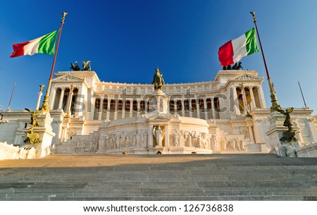 View of the Vittoriano building on the Piazza Venezia at sunset, Rome - stock photo