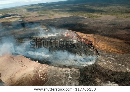 View of the volcano on Hawaii from a helicopter