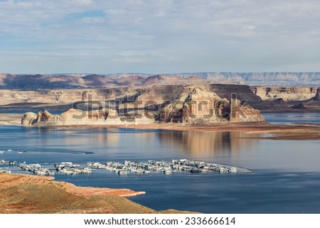 view of the wahweap marina in lake Powell Arizona with contrasting colors