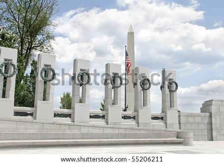 View of the Washington Monument and the World War II Memorial in DC - stock photo