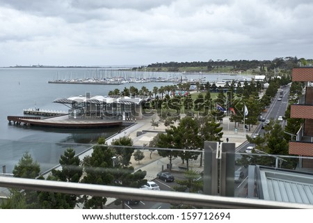 View of the water front park and marina in the city of Geelong, Victoria, Australia - stock photo