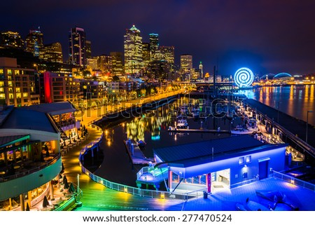 View of the waterfront from Bell Street Pier, in Seattle, Washington. - stock photo