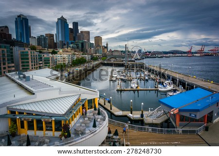 View of the waterfront from the Bell Street Pier, in Seattle, Washington. - stock photo