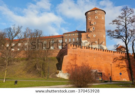 View of the Wawel castle in Krakow, Poland - stock photo