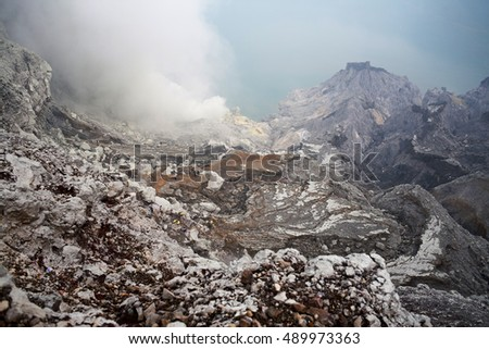 View of the way to Kawah Ijen Volcano in East Java , Indonesia