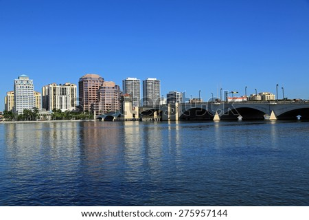 View of the West Palm Beach, Florida skyline from Palm Beach - stock photo