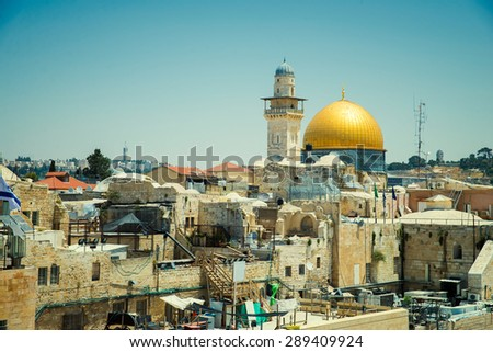 view of the Wester Walll in Jerusalem - stock photo