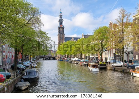 View of the Westerkerk (Western church) from Prinsengracht channel in Amsterdam, Netherlands - stock photo