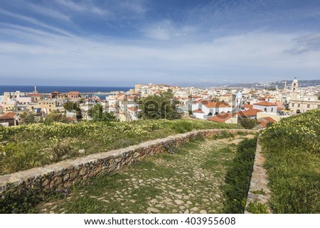 View of the white houses of Chania city from above, Crete, Greece  - stock photo