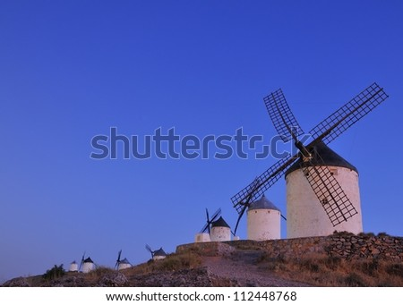 View of the windmills in Consuegra, Spain. - stock photo