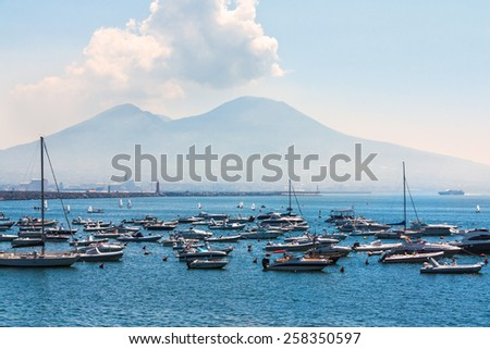 View of the yachts standing near the volcano Vesuvius