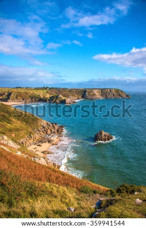 View of Three Cliffs Bay on the Gower Peninsula in South Wales,UK. - stock photo
