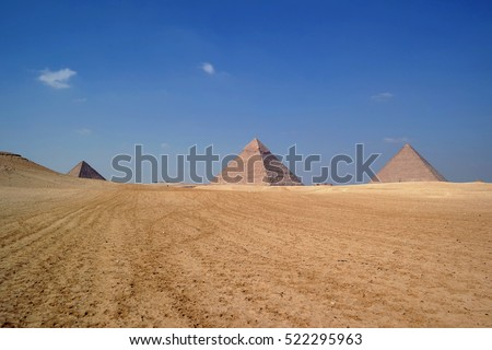 View of three pyramids in the distance, Giza Plateau, Egypt