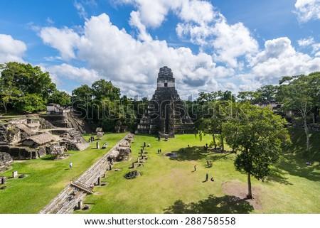 View of Tikal pyramid, Flores, Guatemala - stock photo