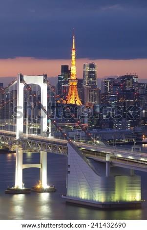 view of Tokyo Bay , Rainbow bridge and Tokyo Tower landmark   - stock photo