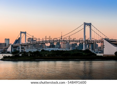 View of Tokyo bridge from odaiba at twilight time in Tokyo,Japan