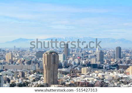 View of Tokyo city in winter from Tokyo tower