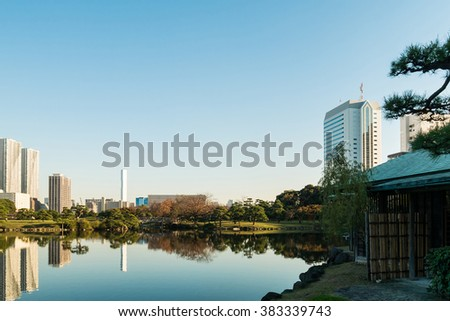 View of tokyo cityscape with park