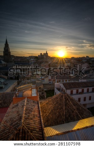 View of Toledo in Castilla-La Mancha, Spain on a Spring day at sunset. - stock photo