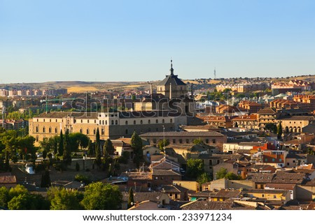 View of Toledo Spain at sunset - stock photo