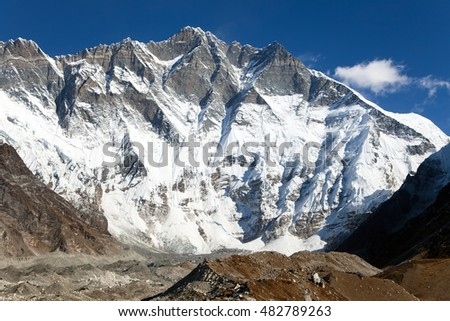 View of top of Lhotse, South rock face - Way to Everest base camp, three passes trek, Everest area, Sagarmatha national park, Khumbu valley, Nepal