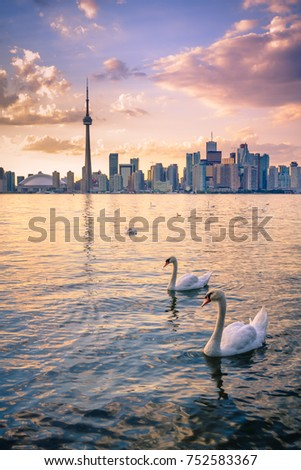View of Toronto city from Central Island during sunset
