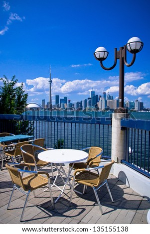 View of Toronto Cityscape from a viewpoint at Toronto Island - stock photo