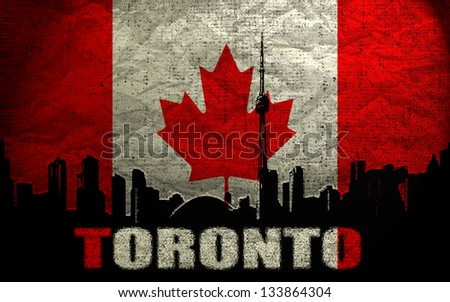 View of  Toronto on the Grunge Canadian Flag - stock photo