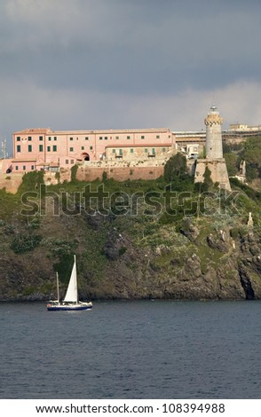 View of Torre della Linguell, on the island of Elba, Italy