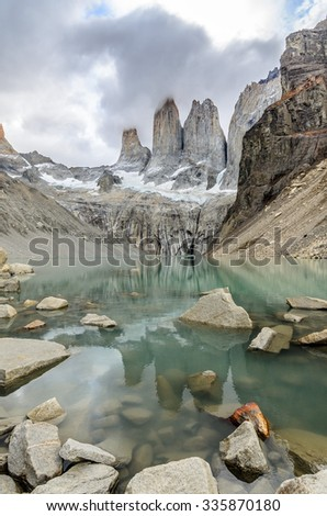 View of Torres at Torres Del Paine, Patagonia, Argentina - stock photo