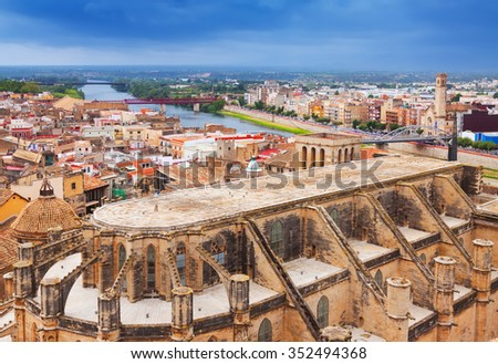 view of Tortosa with Cathedral from Suda castle. Catalonia