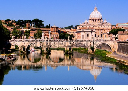 View of toward Vatican City from Ponte Umberto I, Rome, Italy - stock photo