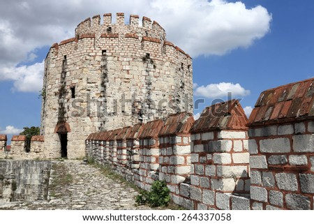 View of tower of Yedikule Fortress in Istanbul - stock photo