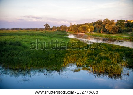 View of town of Goniadz swamps - stock photo