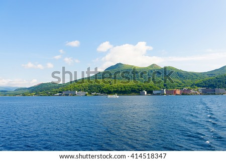View of Toya City from Toya Lake (Toyako) in Hokkaido, Japan.