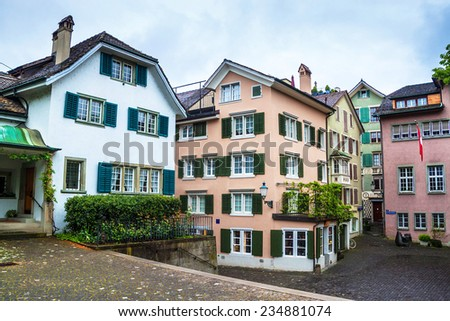 View of traditional houses in Zurich, Switzerland