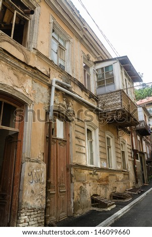 View of traditional narrow streets of Old Tbilisi, Republic of Georgia