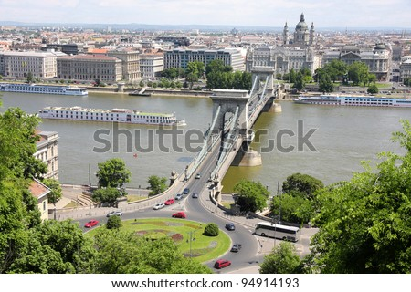 view of traffic circle and chain bridge in Budapest, Hungary - stock photo