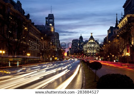View of traffic in the streets of Madrid at dawn. Streets of Madrid