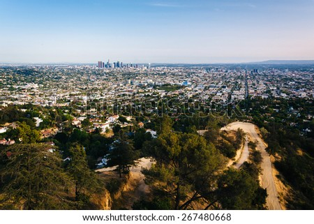 View of trails in Griffith Park and Los Angeles from Griffith Observatory, in Los Angeles, California. - stock photo