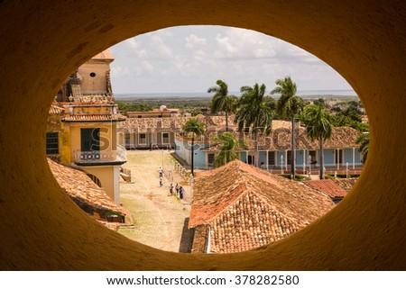 View of Trinidad street, one of UNESCOs World Heritage sites since 1988. Sancti Spiritus Province, Cuba. - stock photo