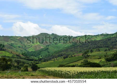 View of tropical forest mountains - stock photo