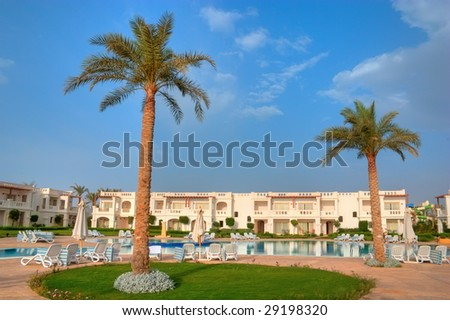 view of tropical hotel - stock photo