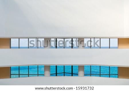 View of tropical ocean through hotel windows - stock photo