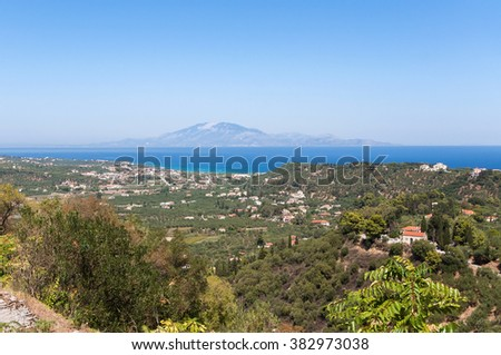 View of Tsilivi on Zakynthos with Kefalonia in the background, Greece - stock photo