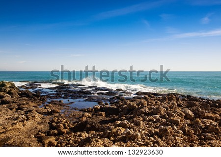 View of Turquoise Coast, Antalya Province, Turkey, Asia Minor - stock photo