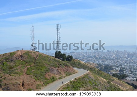 View of Twin Peaks with San Francisco in the background - stock photo