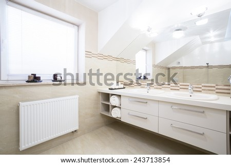 View of two-person bathroom in new house - stock photo