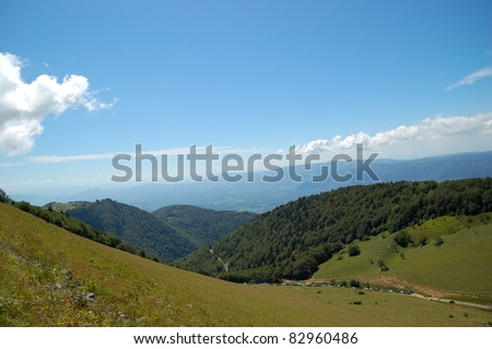 View of typical landscape of Bugey, Ain, France from Le Grand Colombier Mount Pass. - stock photo