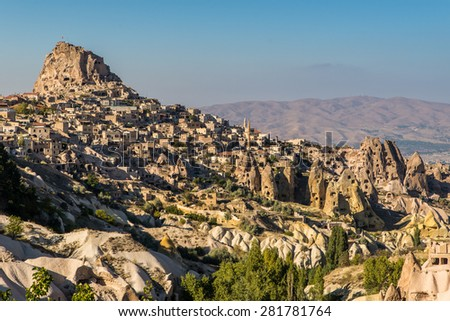 View of Uchisar castle from Pigeon valley, Cappadocia, Turkey